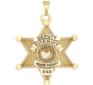 Personalized North Carolina 6 Point Star Sheriff Badge with Rank  Number   Dept