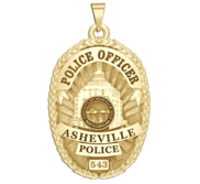 Personalized Asheville North Carolina Police Badge with Rank and Number