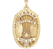 Personalized Durham North Carolina Police Badge with Rank and Number