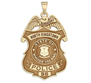 Personalized North Kingstown Rhode Island Police Badge with Your Rank and Number