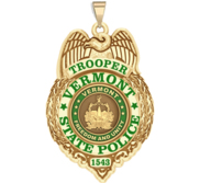 Personalized Vermont State Trooper Police Badge with Your Rank and Number
