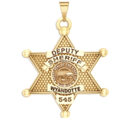 Personalized 7 Point Star Kansas Sheriff Badge with your Dept  Rank and Number