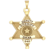 Personalized Oklahoma 6 Point Star Sheriff Badge with Rank  Number   Dept