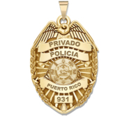 Personalized Puerto Rico Police Badge with Your Rank  Number   Department