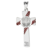 Baseball Stitched Saint Sebastian Enameled Cross Pendant w  Number