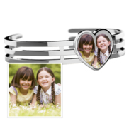 Photo Engraved Heart Bangle Bracelet
