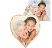 Petite Heart with Diamond Cut Edge Photo Pendant Picture Charm