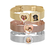 Photo Engraved Mesh Charm Bracelet with Buckle