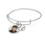 Expandable   Photo Charm Expandable Bracelet with Baseball Charm