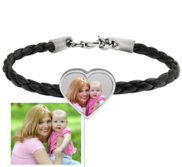 Photo Engraved Leather Rope Bracelet w  Stainless Steel Heart Charm