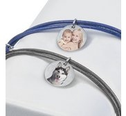 Sterling Silver Leather Rope Bracelet w  Photo Engraved Charm