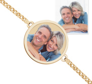 Round Photo Engrave Bracelet w  Curb Chain