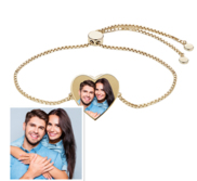 Women s Adjustable Photo Heart Engraved Bracelet