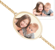 Oval Photo Engrave Bracelet w  Curb Chain