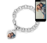 Sterling Silver Tiffany Style Heart  Mom  Photo Charm Bracelet
