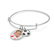 Expandable   Photo Charm Expandable Bracelet with Soccer Charm