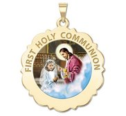 First Holy Communion Religious Medal Scalloped Round   Girl   Color EXCLUSIVE