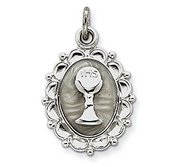 Sterling Silver Holy Communion Enameled Pendant Charm
