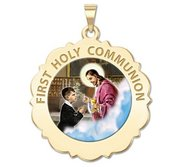 First Holy Communion Scalloped Round Religious Medal  Boy   Color EXCLUSIVE