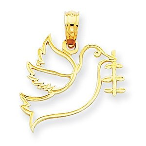 14k Yellow Gold Dove with Branch Charm
