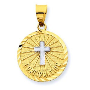 14K Gold Confirmation w  Rhodium Cross Religious Medal