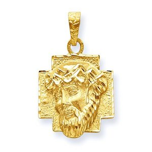 14K Gold Christ Head Diamond Cut Round