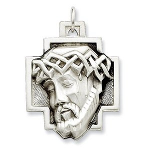 Sterling Silver Satin and Antiqued ECCE HOMO Cross Medal