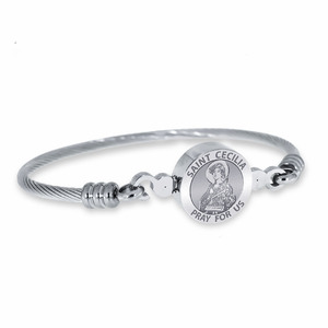 Stainless Steel Saint Cecilia Bangle Bracelet