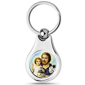 Stainless Steel Color Saint Joseph Keychain
