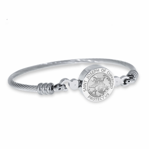 Stainless Steel Saint Joseph Cupertino Bangle Bracelet