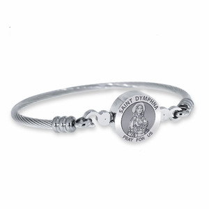 Stainless Steel Saint Dymphna Bangle Bracelet