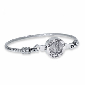 Stainless Steel Saint Peregrine Bangle Bracelet