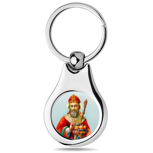 Stainless Steel Color Saint Nicholas Keychain