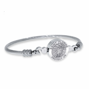 Stainless Steel Saint Florian Bangle Bracelet