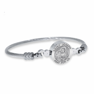 Stainless Steel Saint Joseph Bangle Bracelet