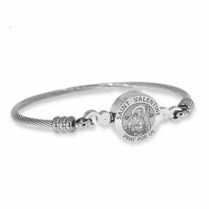 Stainless Steel Saint Valentine Bangle Bracelet
