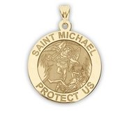 14K Yellow Gold  EXCLUSIVE  Saint Michael Religious Medal