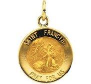 14K Gold Saint Francis Religious Medal