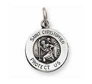 Sterling Silver Antiqued Round Saint Christopher Medal