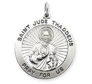 Silver Round Saint Jude Medal