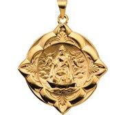 14K Gold Caridad Del Cobre Religious Medal