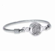 Stainless Steel Saint Luke Bangle Bracelet