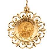 14K Gold Saint Theresa Religious Medal