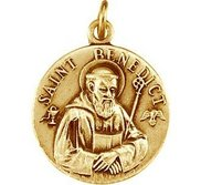 Small Saint Benedict Round Relief Religious Medal