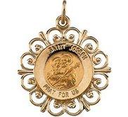 14K Yellow Gold Round Saint Joseph Religious Medal with Filigree Border