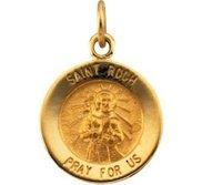 14K Gold Saint Roch Religious Medal