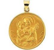 18K Yellow Gold Round Saint Joseph Religious Medal