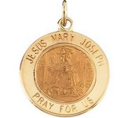 14K Gold Jesus  Mary and Joseph Religious Medal