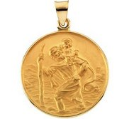 18K Yellow Gold Saint Christopher Religious Medal