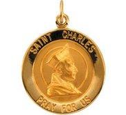 14K Gold Saint Charles Religious Medal